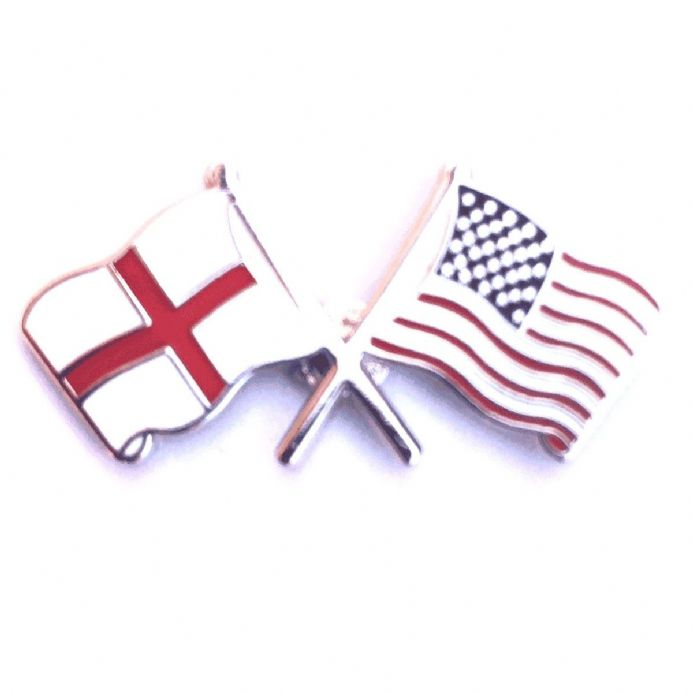 England Flag and USA Flag Crossed Lapel Badge